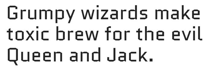 Example of the Quantico font.