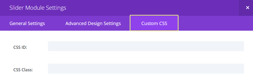 Screenshot of the Custom CSS tab from a Slider module.