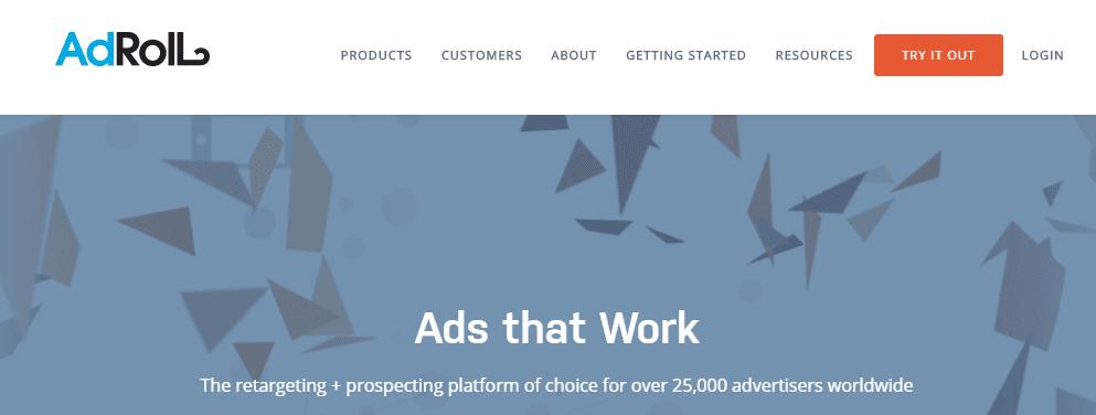 Screenshot of AdRoll's homepage.