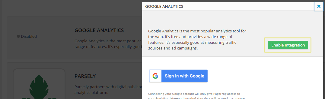 A screenshot of the Google Analytics option included with the plugin.