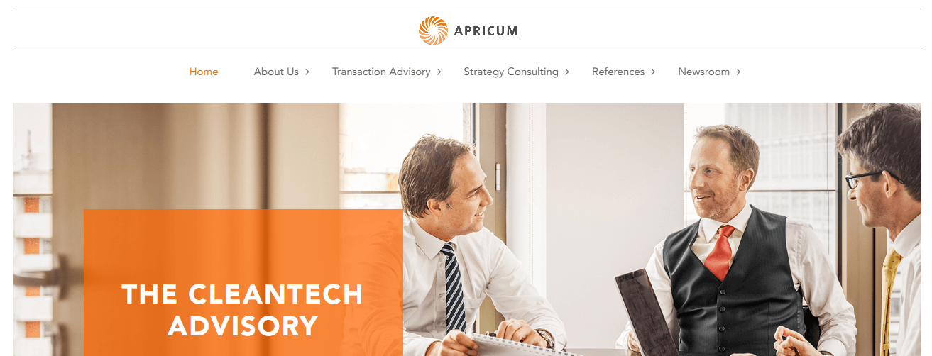 A screenshot of Apricum's homepage.