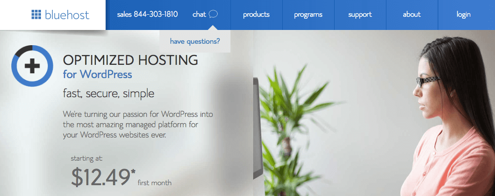 Bluehost Managed WordPress hosting