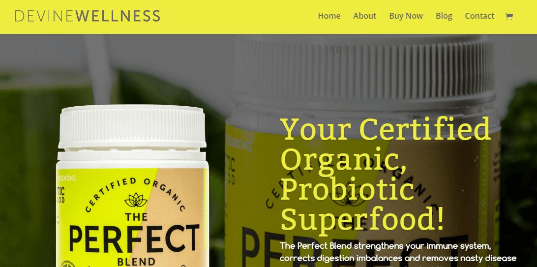 A screenshot of the Devine Wellness homepage.