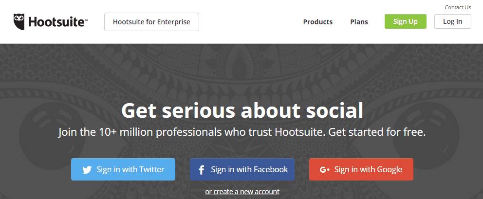 Screenshot of HootSuite's homepage.