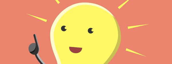 A cartoon lightbulb raising its hand.