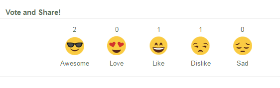 A screenshot of the MyEffecto like reactions menu.
