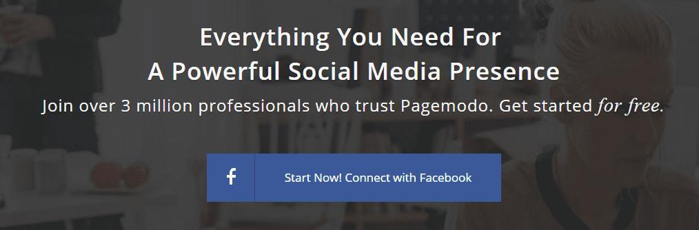 Screenshot of PageModo's homepage.