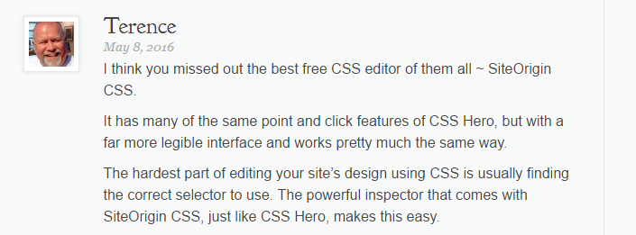 An example of some reader input from the Elegant Themes comments section.