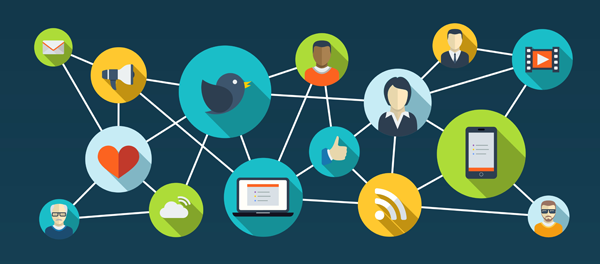 A network of social media sites and users.