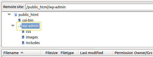Screenshot of the wp-admin folder as seen from an FTP manager.