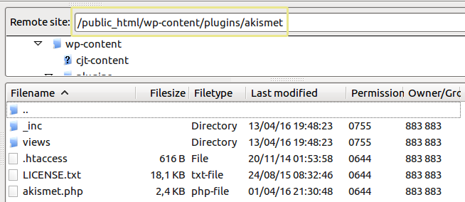 A screenshot of the Akistmet plugin folder as seen from an FTP manager.