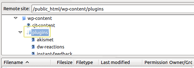 A screenshot of the plugins folder as seen from an FTP manager.