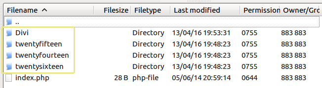 A screenshot of the themes folder as seen from an FTP manager.