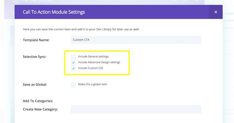 Divi module selective sync