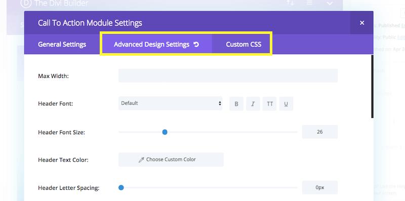 Divi module settings