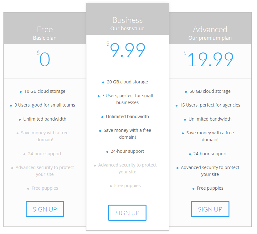 An example of a Divi pricing table which focuses on the benefits to the customer.