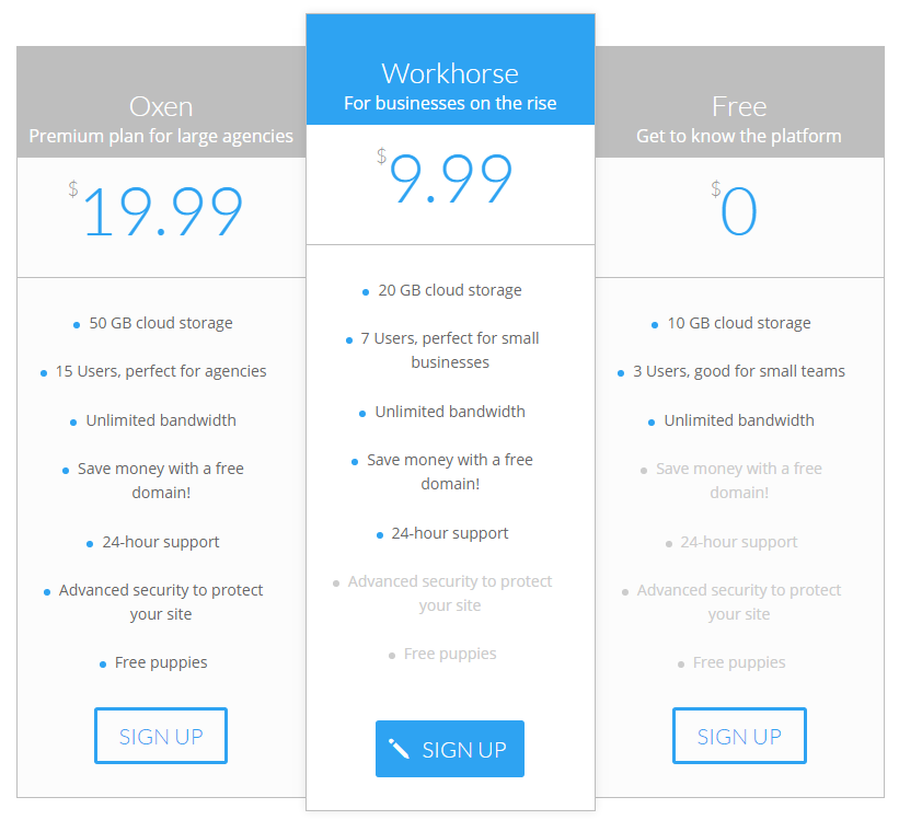 An example of a Divi pricing table with a highlighted tier.