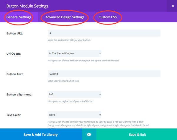 Button Module Settings