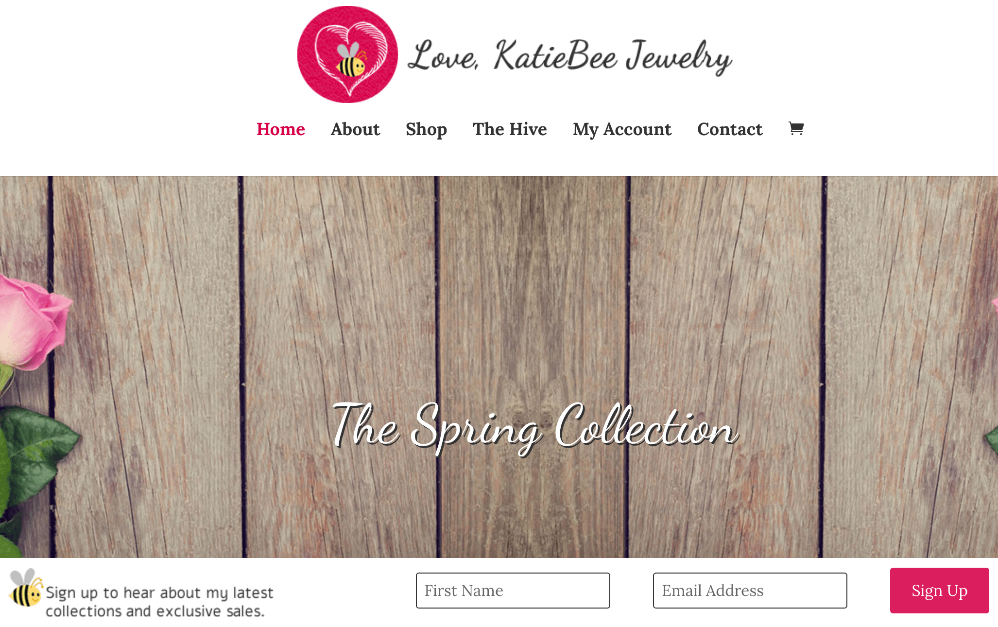 The KatieBee Jewelry homepage.