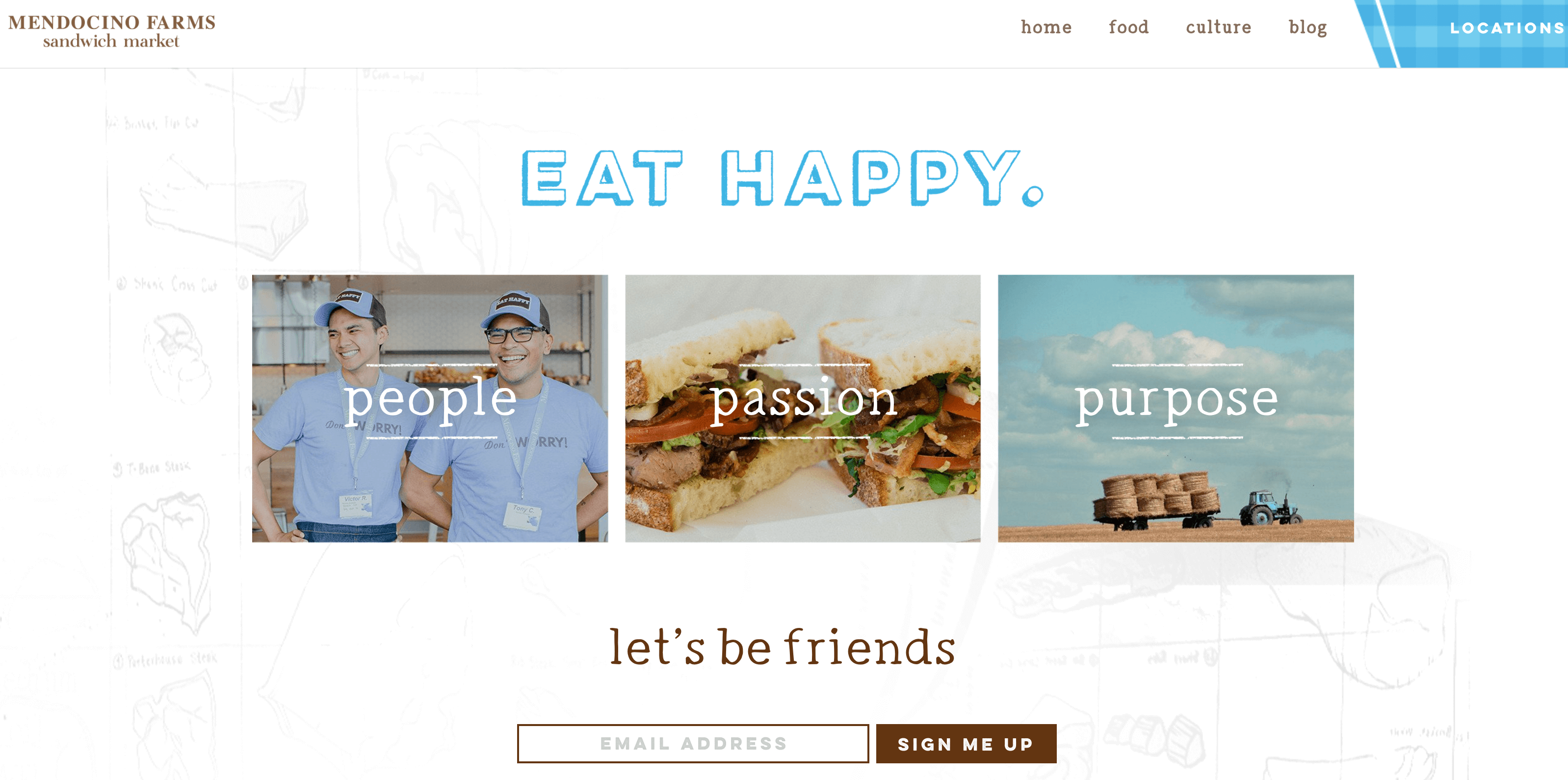 The Mendocino Farms homepage.