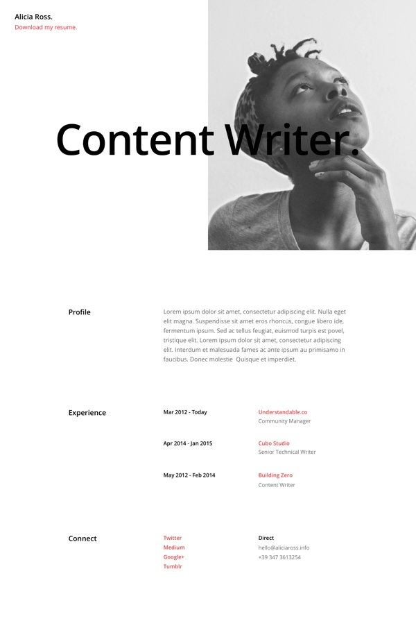 resume page layout 03