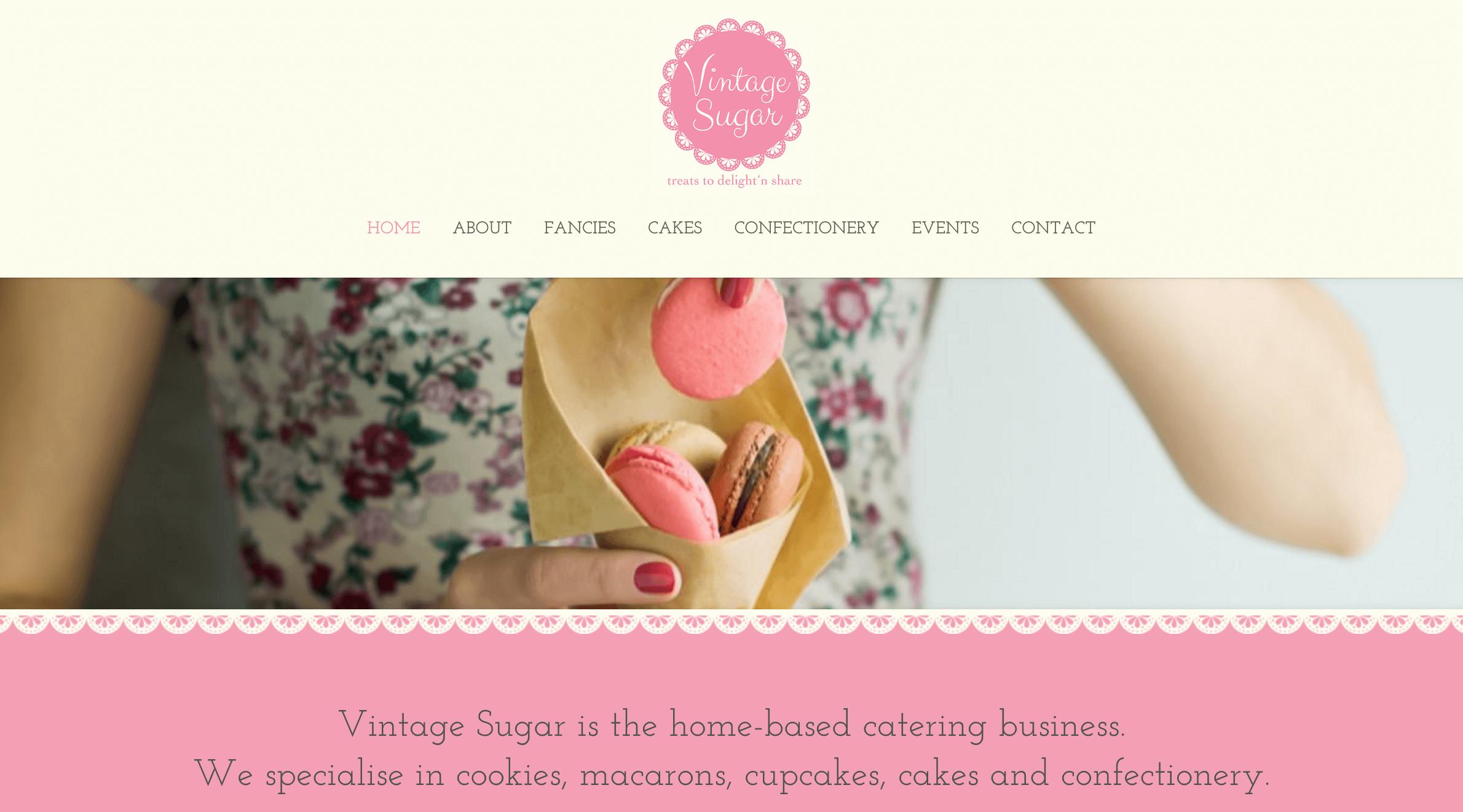 The Vintage Sugar homepage.