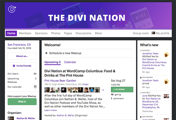 Divi Nation Meetup Page