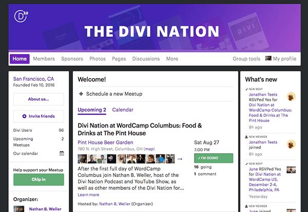 Divi Nation Meetup Page