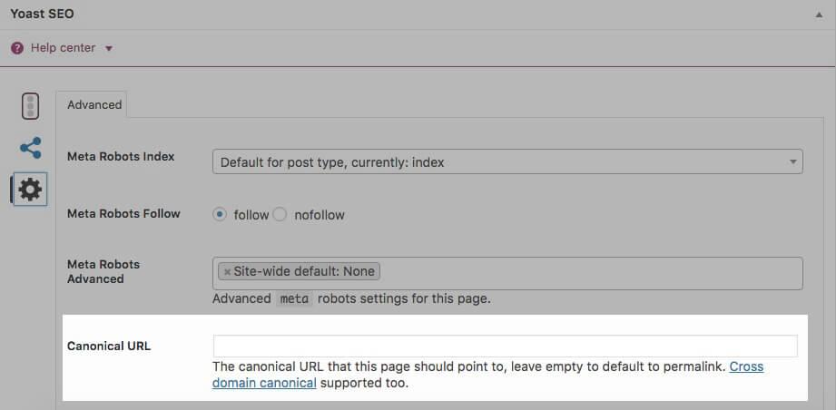 Yoast SEO's Canonical URL field.