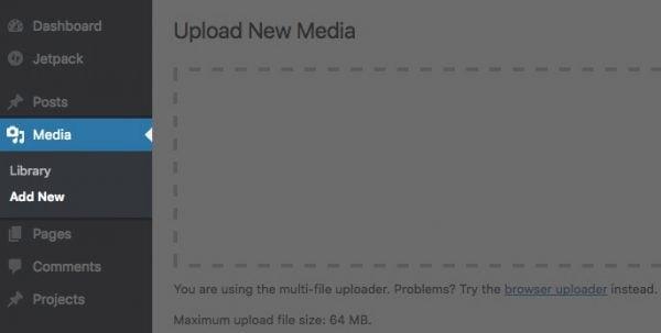 L'écran Télécharger un nouveau média.