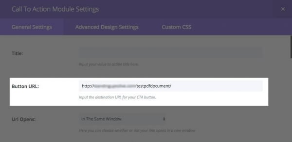 The Button URL field.