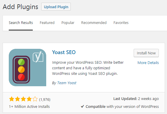 The Yoast SEO option under Add new plugins.