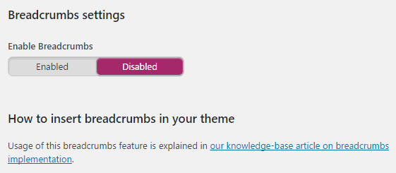 A screenshot of the Breadcrumbs section.