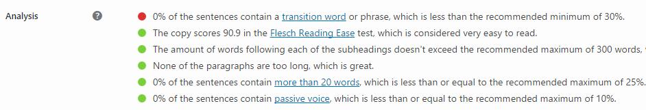 A screenshot of the Readability tab within the meta box.
