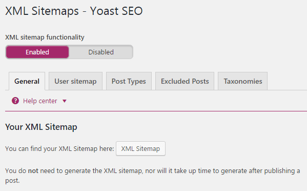 A screenshot of the XML Sitemaps section.