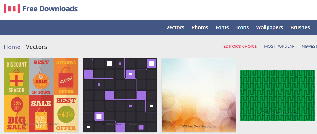 The 1001 Free Downloads homepage.