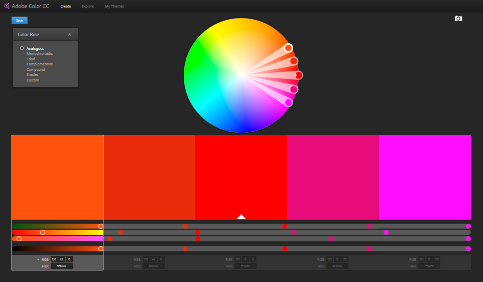 Adobe Color CC user interface