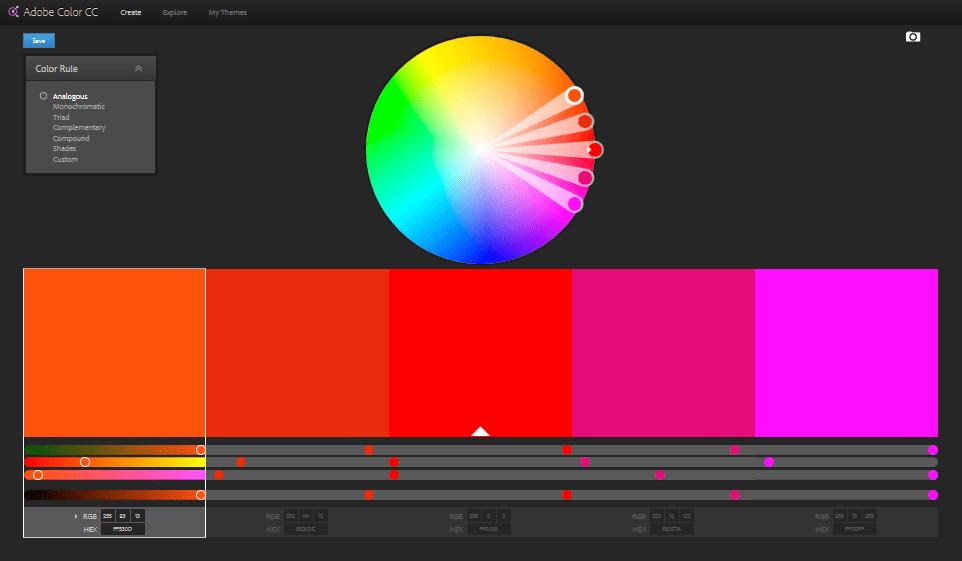 Adobe Color CC user interface