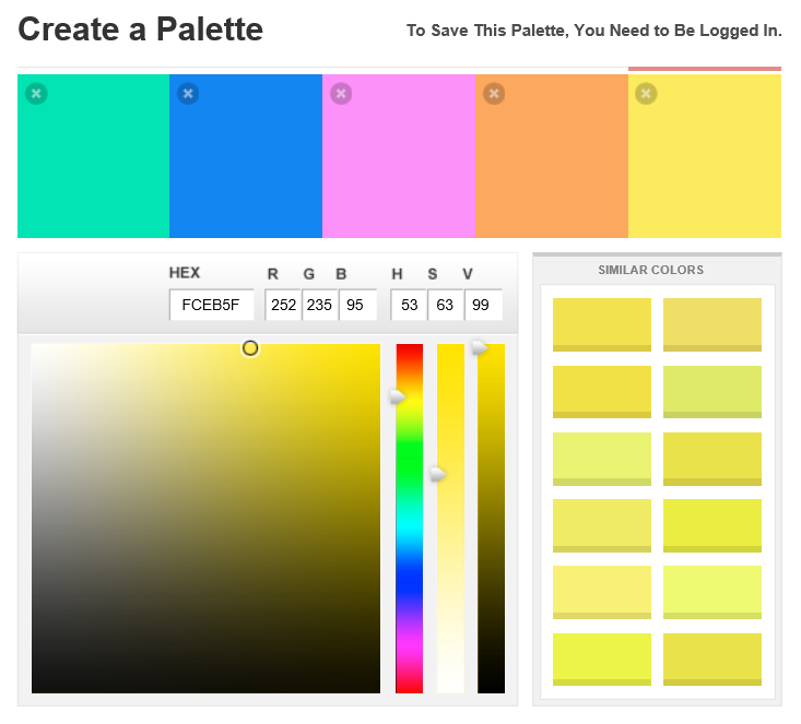 COLORlovers user interface