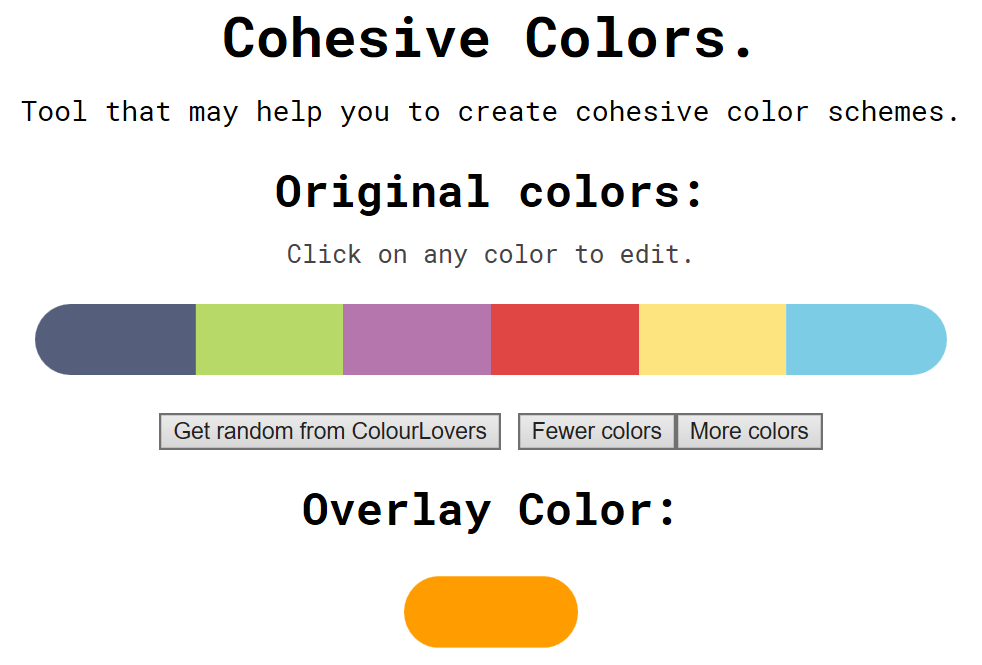 Cohesive Colors user interface