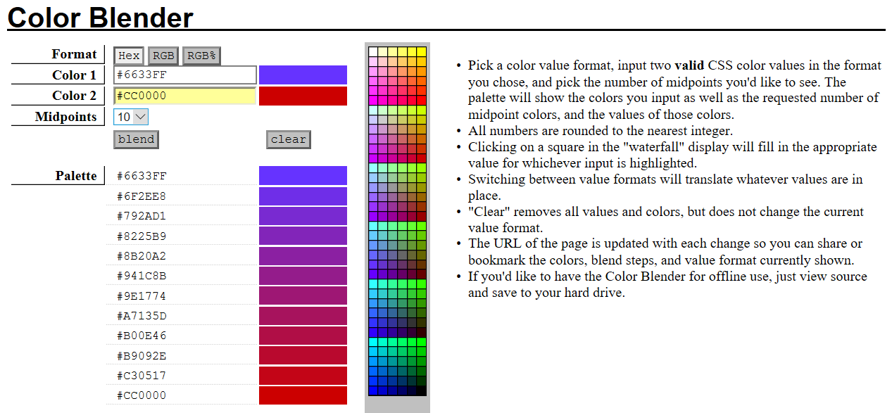 Color Blender user interface