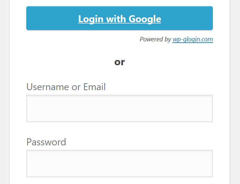 WordPress login page with one-click Google login
