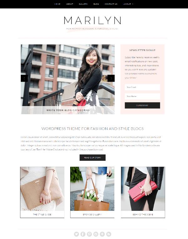 Marilyn wordpress theme for fashion site