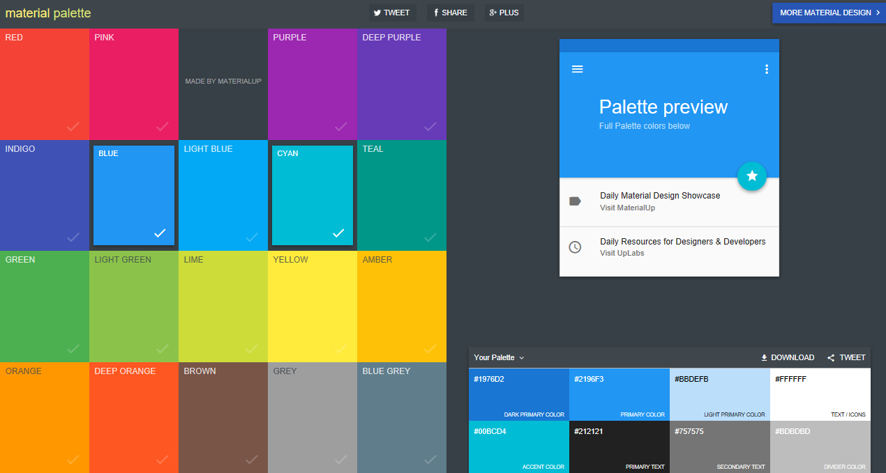 Material Palette user interface