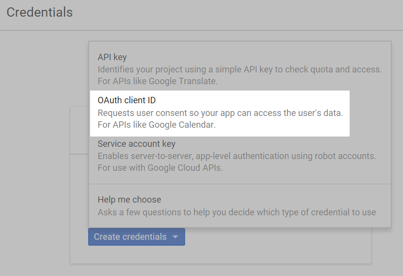 OAuth client ID tab