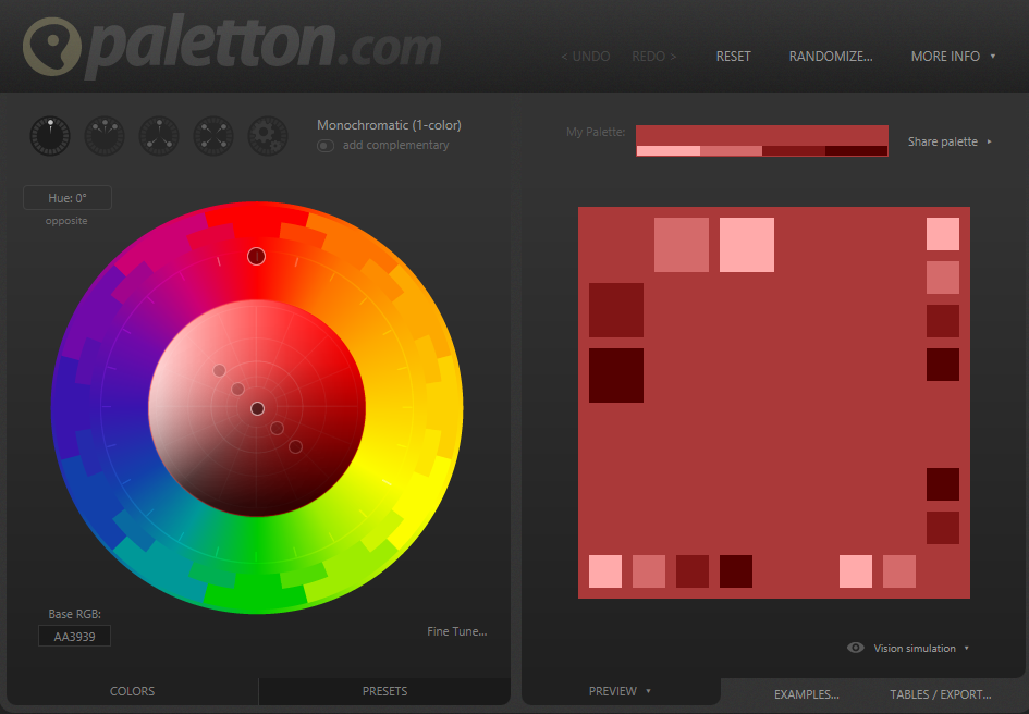 Paletton user interface