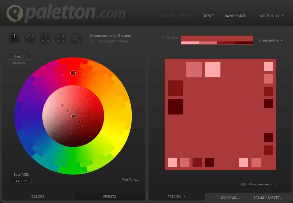 Paletton user interface