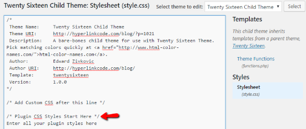 WordPress stylesheet