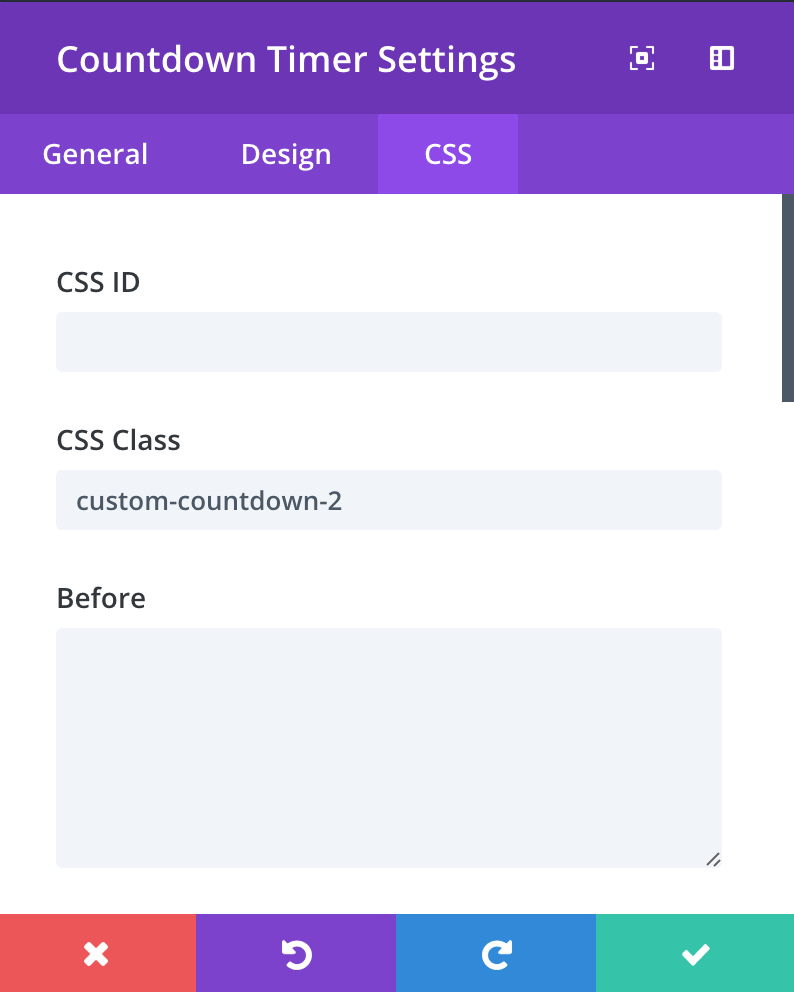countdown-timer-settings-custom-css-class