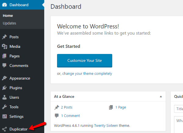 duplicator wordpress plugin how to set up